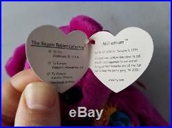 Ty Beanie Baby Millennium Millenium Bear P. E. Pellets Rare With Errors