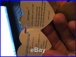Ty Beanie Baby Rare Whisper 1998/1999 with tag errors