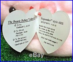 Ty Beanie Baby Squealer Retired Pig 1993 Original 9 MWMT RARE PVC Backwards Tush