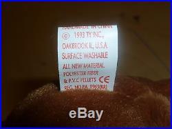 Ty Beanie Baby TEDDY The Bear Style 4050 PVC TAG ERROR 1993 1995 RARE