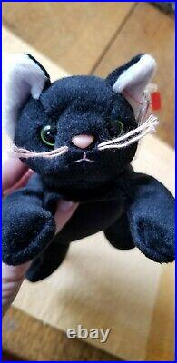 Ty Beanie Baby (extremely Rare) Zip The Cat/all Black Retired 1996 3rd/1st Gen