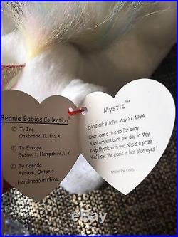 Ty Mystic Unicorn Beanie Baby Retired Rare Rainbow Mane