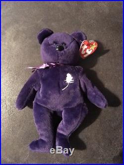 92539dff4df Ty Original Bear 1st Edition Princess Diana 1997 Retired Beanie Baby Purple  Rare