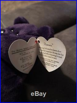 Ty Original Bear 1st Edition Princess Diana 1997 Retired Beanie Baby Purple Rare