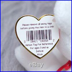 Ty Valentino Beanie Baby Bear Heart with Errors White RARE