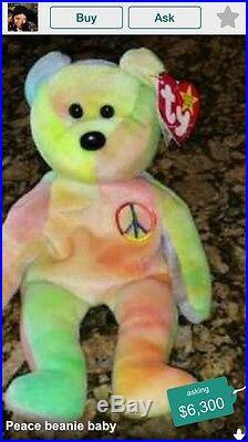 Ty beanie baby peace bear spelling errors, ORIGIINAL pvc pellets, RARE! NEON