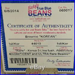 ULTRA RARE Authenticated Ty 1st gen BROWNIE Beanie Baby 5 Line KOREAN Tush Tag