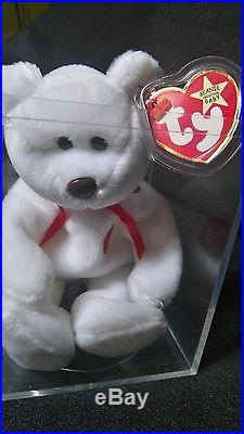 ULTRA RARE BEANIE BABY VALENTINO PINK TAG + Almost WHITE STAR