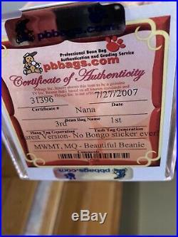Ultra Rare TY beanie baby Nana No Bongo Sticker Ever 3rd 1st gen MWMT MQ