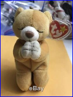 VERY RARE! TY Beanie Babies Hope the Praying Bear Retired 1999 With Errors