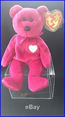 Very Rare Valentina Ty Beanie Baby Pink Tag White Star