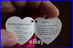 VERY RARE Valentino (2) Error Beanie Baby with (1) Error Valentina Included