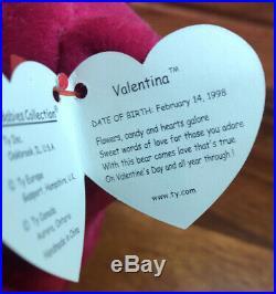 Valentina RARE TY Beanie Baby TAG ERRORS 1998/99 w hologram New & Mint. Beatiful