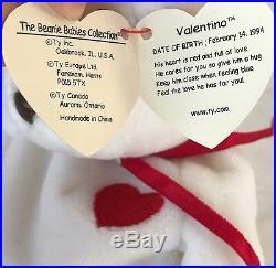 Valentino Ty Beanie Baby RARE TAG ERRORS, MWMT! 1st Edition, Origiinal/Suface