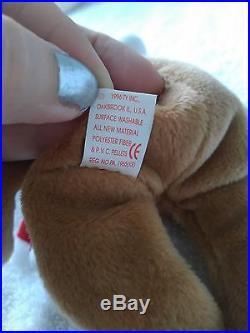 Very RARE 1997 Holiday Teddy 4200 Ty Beanie Baby Tag Error & PVC Pellets-Retired