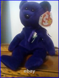 Very Rare Ty Beanie Babies Princess Diana Bear (1st Edition No Space On Tag)1997