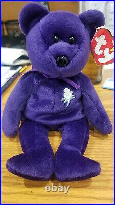 Vintage 1997 Extremely Rare Ty Beanie Baby Princess Diana Purple Bear ERRORS